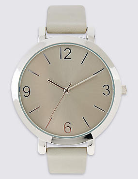 Smooth Round Face Watch, GREY MIX, catlanding