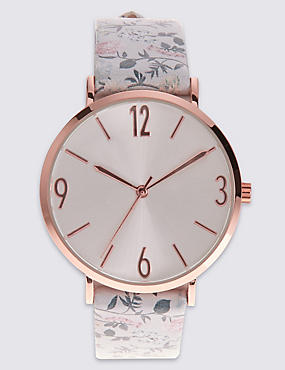 Round Face Pattern Strap Watch, MULTI, catlanding