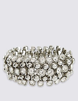 Diamanté Sparkle Gem Stretch Bracelet, , catlanding