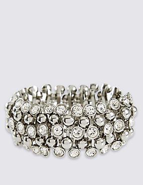 Bracelet extensible orné de pierres scintillantes à strass, , catlanding