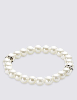Pearl Effect Diamanté Stretch Bracelet, , catlanding