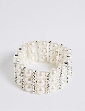 Pearl Effect Diamanté Stretch Bracelet, , catlanding