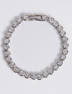 Platinum Plated Diamanté Bracelet, WHITE MIX, catlanding