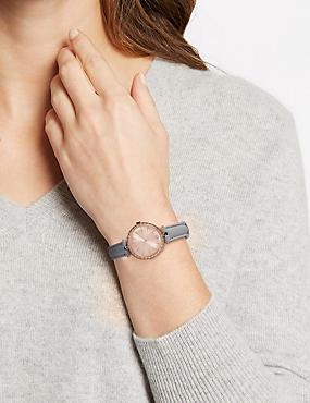 Glimmer Round Strap Watch, , catlanding