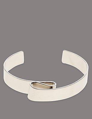 Swirl Cuff Bracelet, SILVER MIX, catlanding