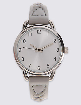 Round Face Plaited Strap Watch, , catlanding