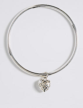 Silver Plated Heart Bangle, WHITE MIX, catlanding