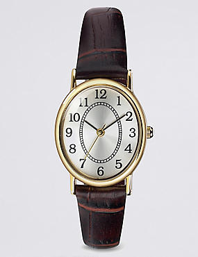 Oval Face Classic Strap Watch, BROWN MIX, catlanding