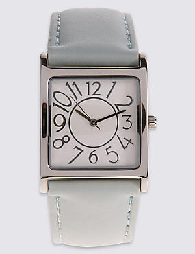 Large Square Face Strap Watch, DUCK EGG, catlanding