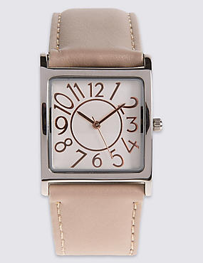 Large Square Face Strap Watch, BEIGE, catlanding