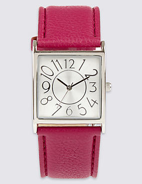 Large Square Face Strap Watch, FUCHSIA MIX, catlanding
