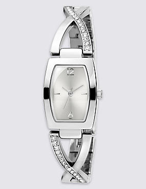 Diamanté Criss-Cross Bracelet Watch, , catlanding
