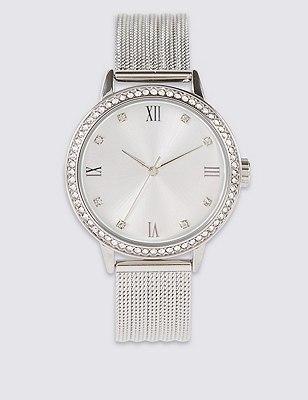 Diamanté Sparkle Mesh Strap Analogue Watch, , catlanding