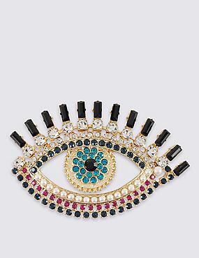 Pearl Effect & Diamanté Eye Brooch, , catlanding