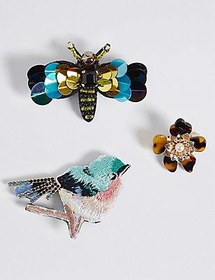 Lot de 3broches à motif oiseau et insecte, ornées de sequins, , catlanding