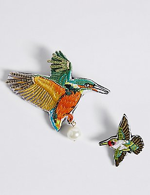 2 Pack Tropical Bird Brooches, , catlanding