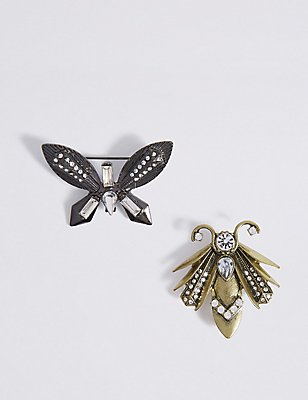 2 Pack Bug Brooches, , catlanding