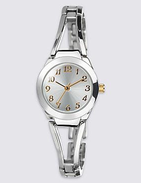 Round Face Open Bar Bracelet Watch, , catlanding