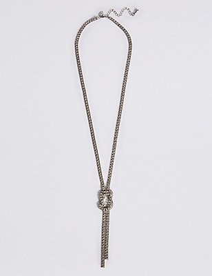 Trapped Diamanté Knot Necklace, , catlanding