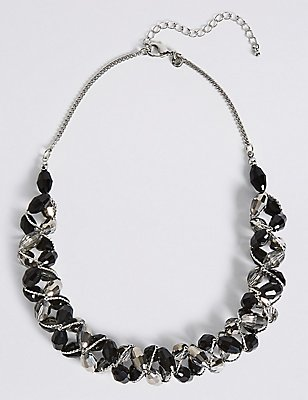 Multi-Faceted Assorted Bead Twist Necklace, BLACK MIX, catlanding