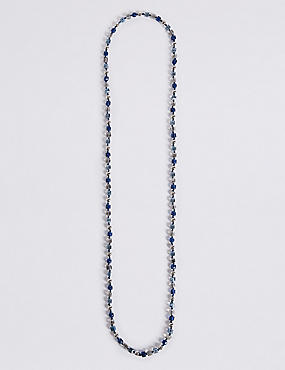 Cube & Pearl Effect Long Rope Necklace, NAVY MIX, catlanding
