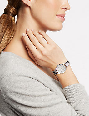 Round Face Modern Bracelet Watch, , catlanding