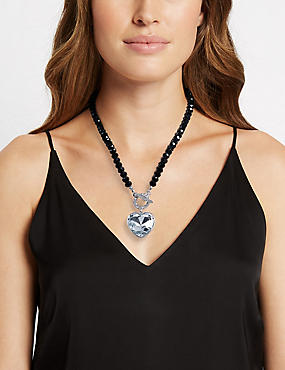 Diamanté Heart Pendant T-Bar Necklace, BLACK MIX, catlanding