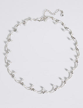 Pearl Effect Curved Sticks Collar Necklace, , catlanding