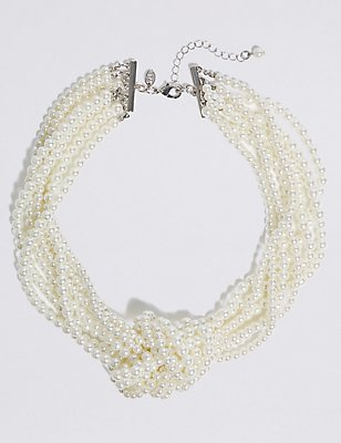 Knot Pearl Necklace, CREAM, catlanding