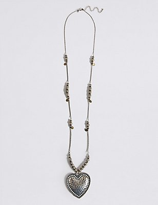 Etched Heart Long Necklace, , catlanding
