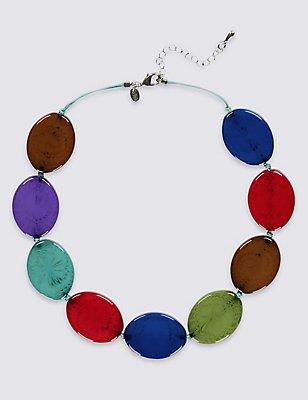 Flat Oval Necklace, MULTI, catlanding