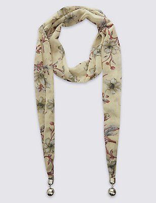 Floral Print Scarf Necklace, , catlanding