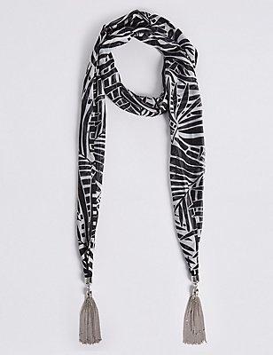 Printed Scarf Necklace, , catlanding