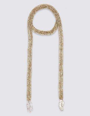Blush Skinny Scarf Necklace, , catlanding