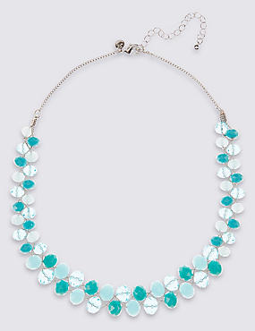 Twist Glass Necklace, TURQUOISE MIX, catlanding