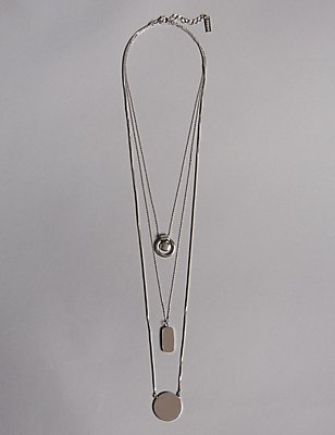 Sleek Triple Row Necklace, , catlanding