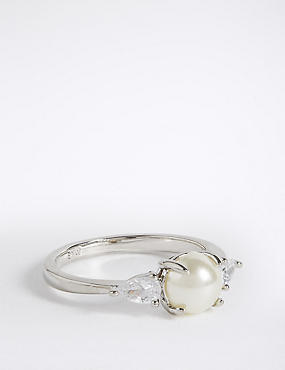 Platinum Plated Pearl Ring, WHITE MIX, catlanding