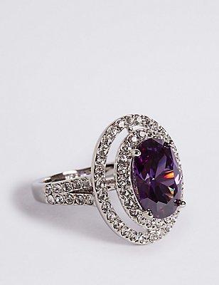 Platinum Plated Diamanté Oval Ring, MEDIUM PURPLE, catlanding