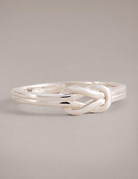 Sterling Silver Knot Ring, WHITE MIX, catlanding
