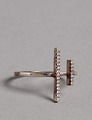 Sterling Silver Double Bar Ring, SILVER MIX, catlanding