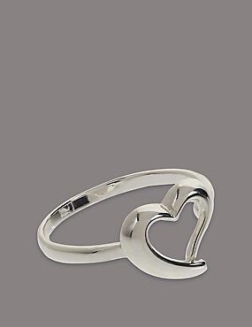 Sterling Silver Heart Ring, SILVER, catlanding