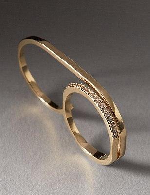 Diamanté Sparkle Double Ring, GOLD MIX, catlanding