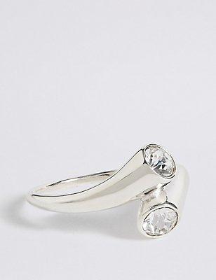 Doppel-Ring aus Sterlingsilber mit Kristallbesatz, SILBER, catlanding