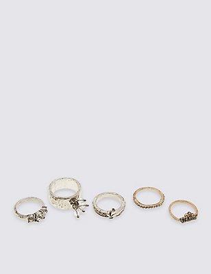 5 Pack Diamanté Rings, SILVER MIX, catlanding