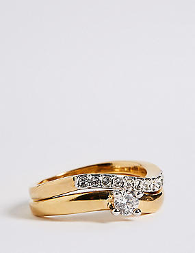 Gold Plated Wedding Band Duo Rings, GOLD MIX, catlanding