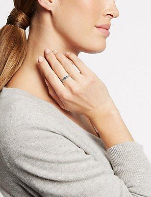 Gold Plated Pave Twist Floral Diamanté Ring, GOLD MIX, catlanding