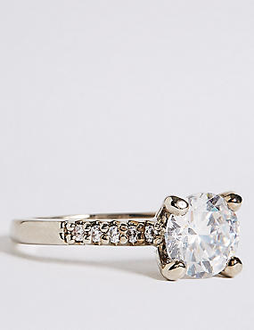 Platinum Plated Diamanté Ring, WHITE MIX, catlanding