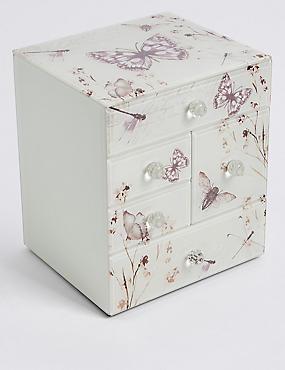 Boîte à bijoux à motif papillons et fleurs, , catlanding