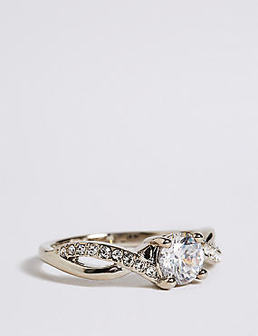 Platinum Plated Twisted Crystal Stone Ring, WHITE, catlanding