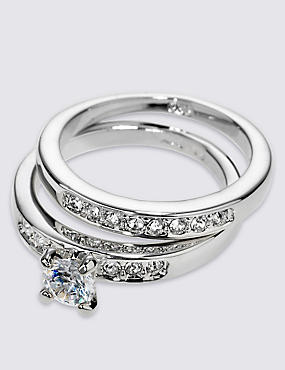 Platinum Plated Diamanté Rings, SILVER MIX, catlanding